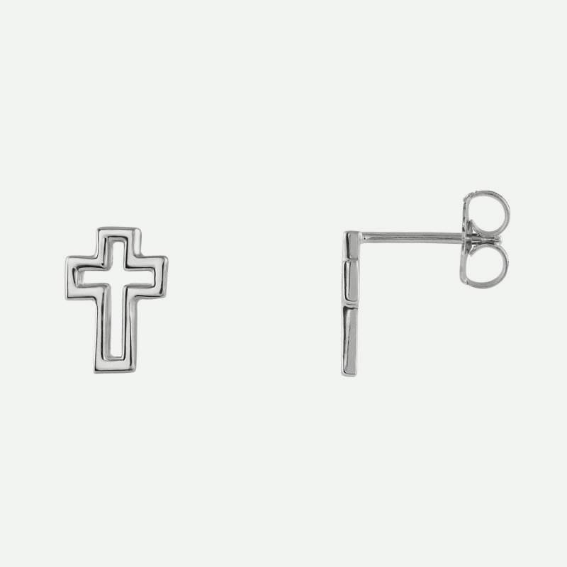Mixed view of white gold Open Cross Christian Earrings