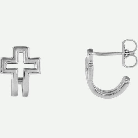 Mixed View Of Open Cross J-Hoop White Gold Christian Earrings For Women From Glor-e