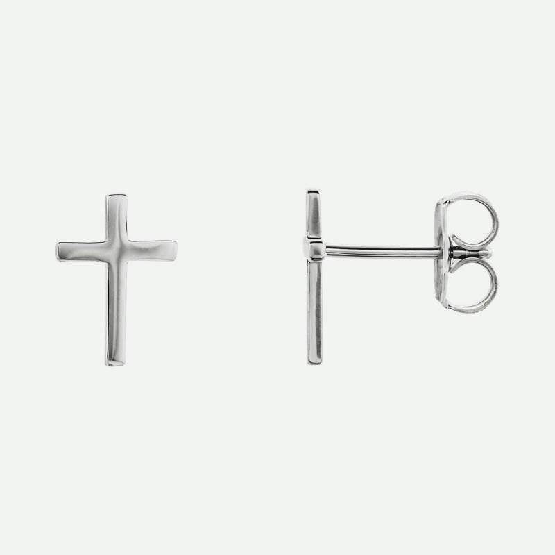 Mixed view of white gold Main Cross Christian Earrings For Women 10 mm
