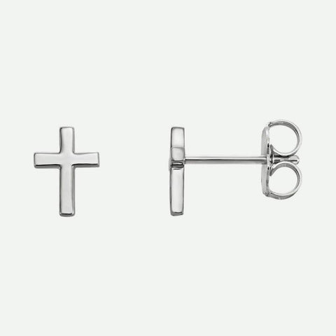 Mixed view of white gold Main Cross Christian Earrings For Women 7.5 mm