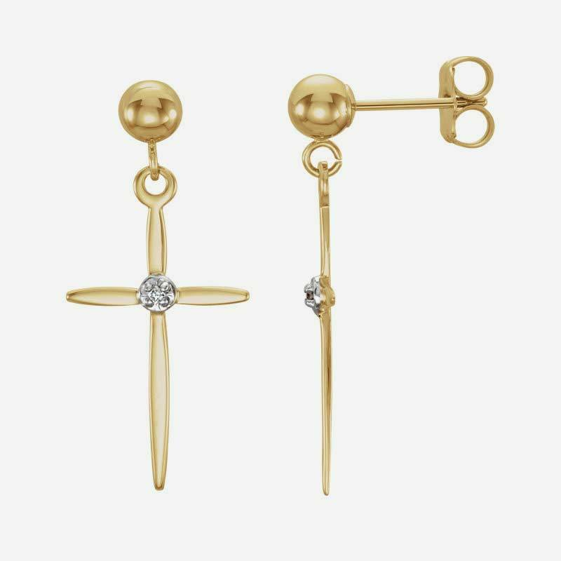 Mixed view of yellow and white gold Cross and Ball Christian earrings