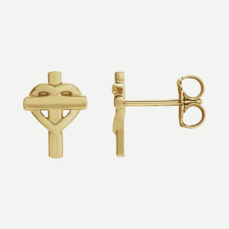 Mixed view of yellow gold Cross & Heart Christian Earrings For Women