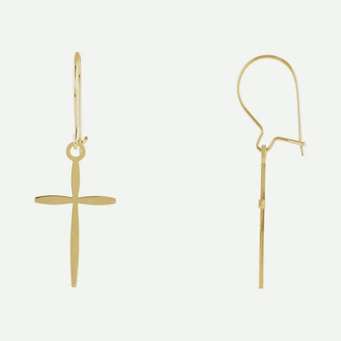 Mixed view of yellow gold Unique Cross Christian Earrings