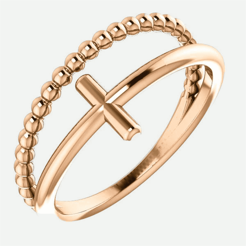 Negative space beaded cross rose gold christian ring for women from Glor-e oblique view