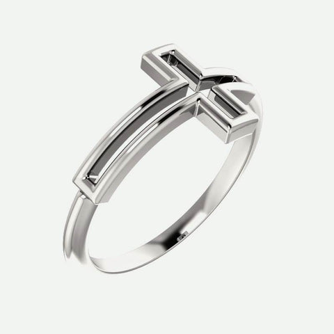 Oblique view of white gold Cross Frame Christian Ring For Women