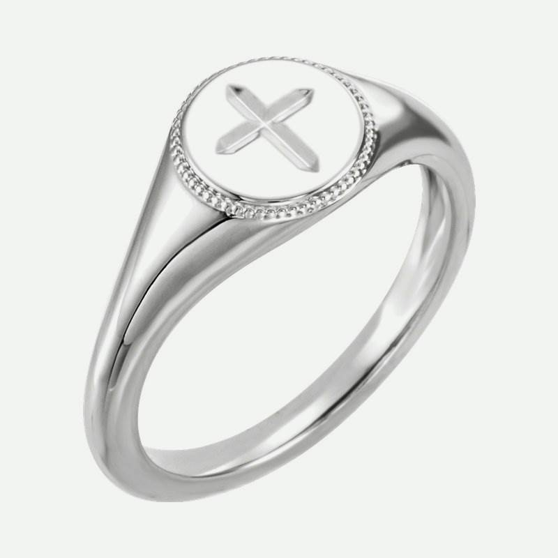 Oblique view of white gold Engraved Cross Christian Ring For Women