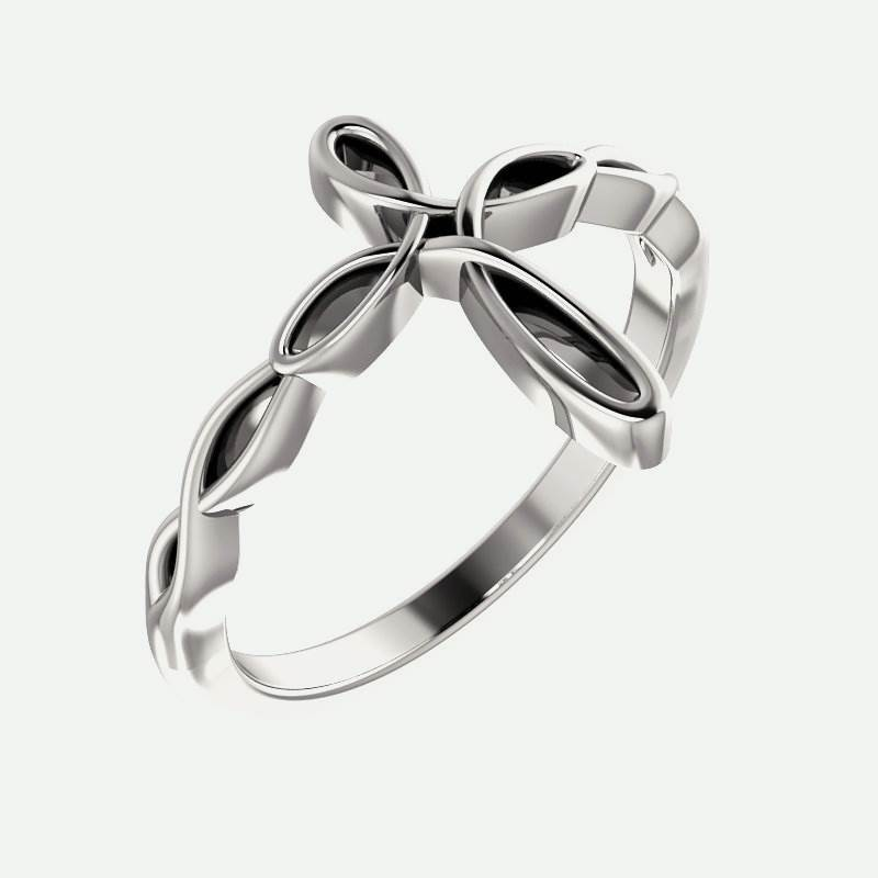 Oblique view of white gold Knotted Cross Christian Ring For Women