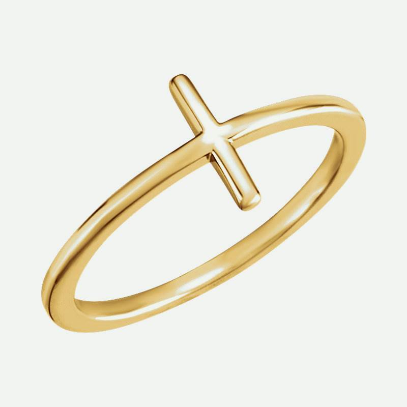 Oblique view of yellow gold Sideways Cross Christian Ring For Women