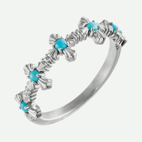 Oblique view of white gold Turquoise Cross Christian Ring For Women