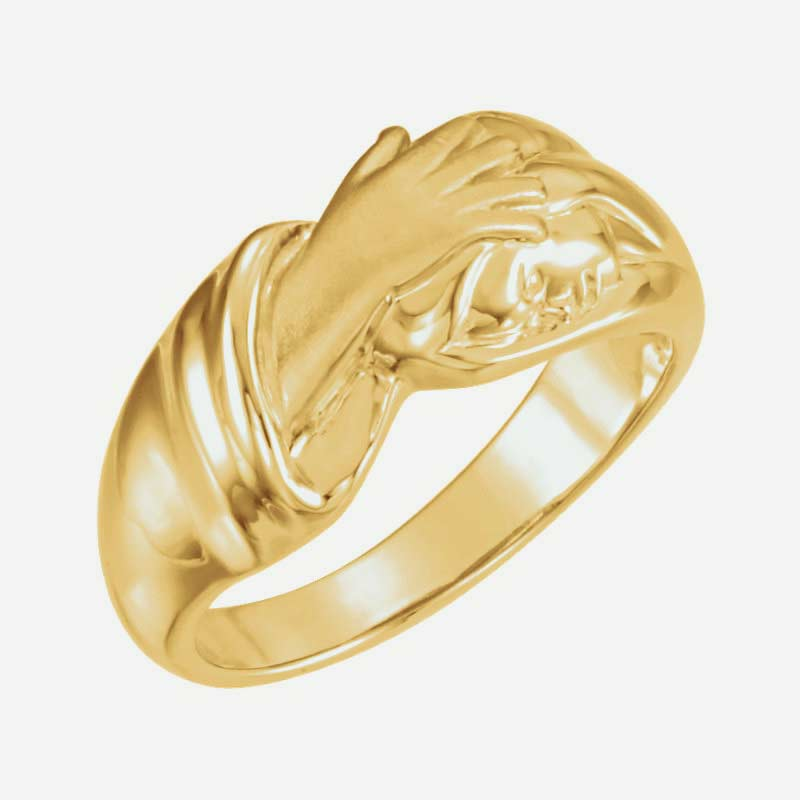 Oblique view of yellow gold Hand of Christ Christian ring