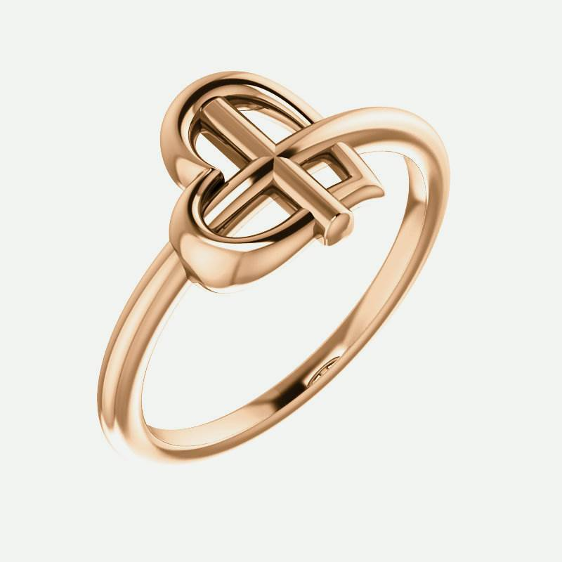 Oblique view of rose gold Crossed Heart Christian Ring For Women