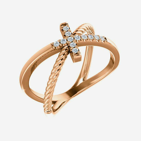 Oblique view of rose gold diamond cross rope Christian ring for women