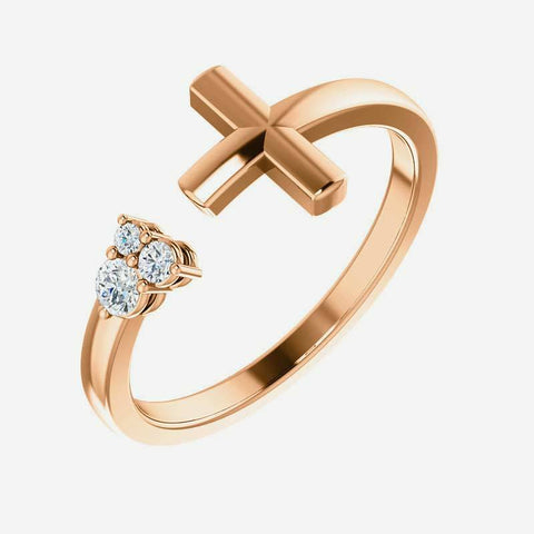 Oblique view of rose gold Negative Space Cross Christian ring for women