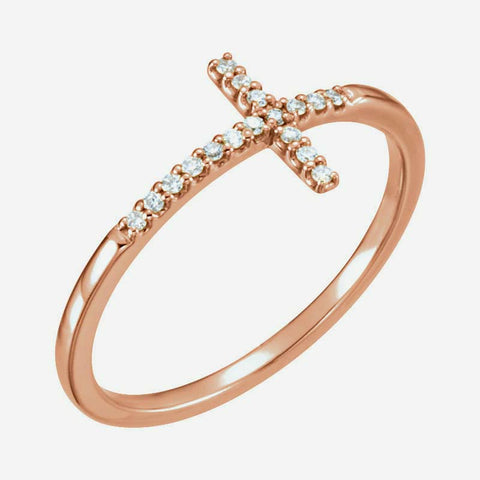 Oblique view of rose gold Sideways Cross Christian Ring For Women