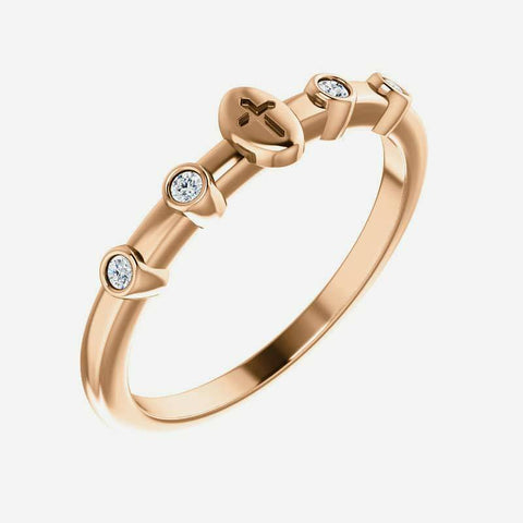 Oblique view of rose gold .05 CTW Diamond Stackable Cross Christian Ring for women