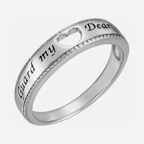 Oblique view of sterling silver GUARD MY HEART Christian ring for women