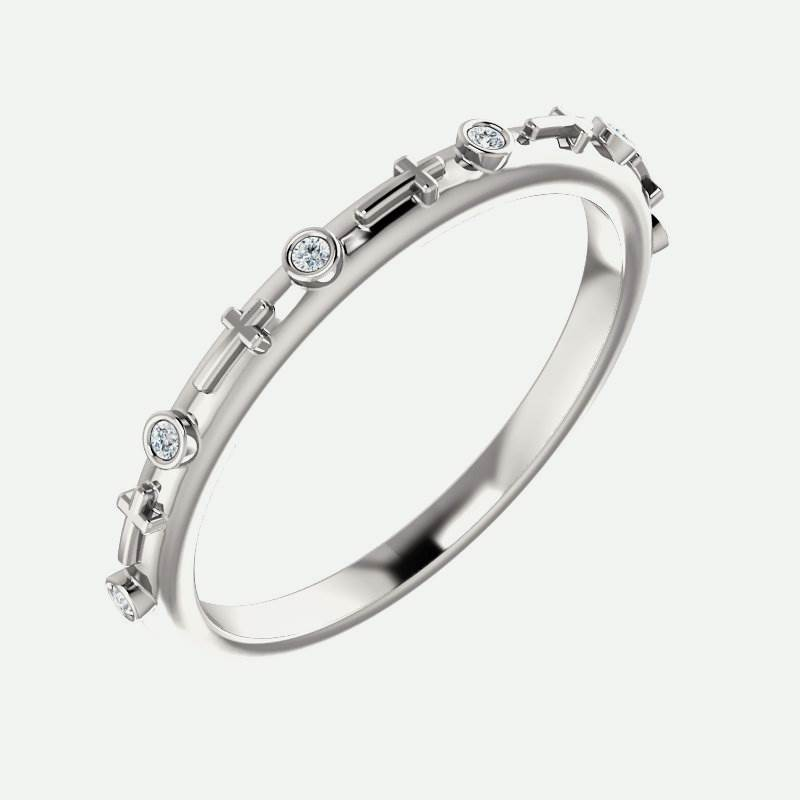 Bezel-Set Cross Christian Ring For Women
