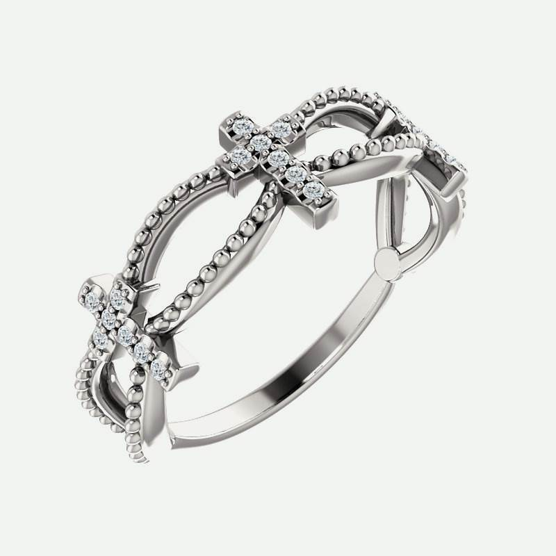 Oblique view of white gold Diamond Stackable Cross Christian Ring For Women