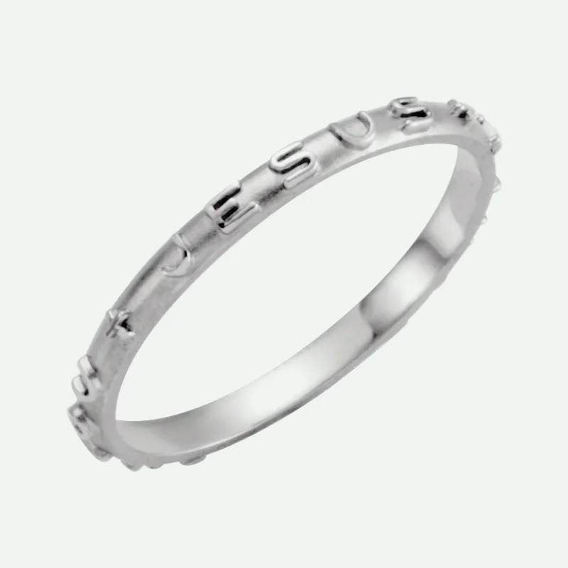 Oblique view of white gold JESUS I TRUST IN YOU Christian ring for women