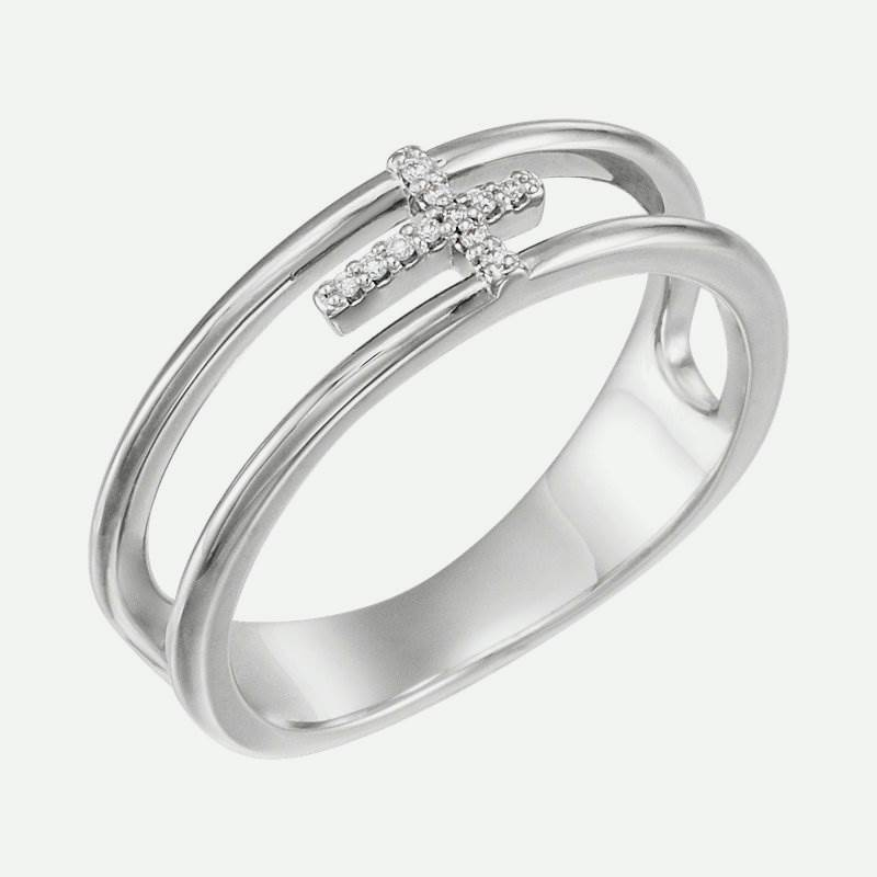 Oblique view of Negative Space Diamond Cross Christian Ring For Women