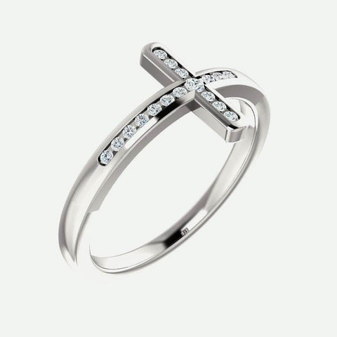 Oblique view of white gold Sideways Diamond Cross Christian Ring For Women