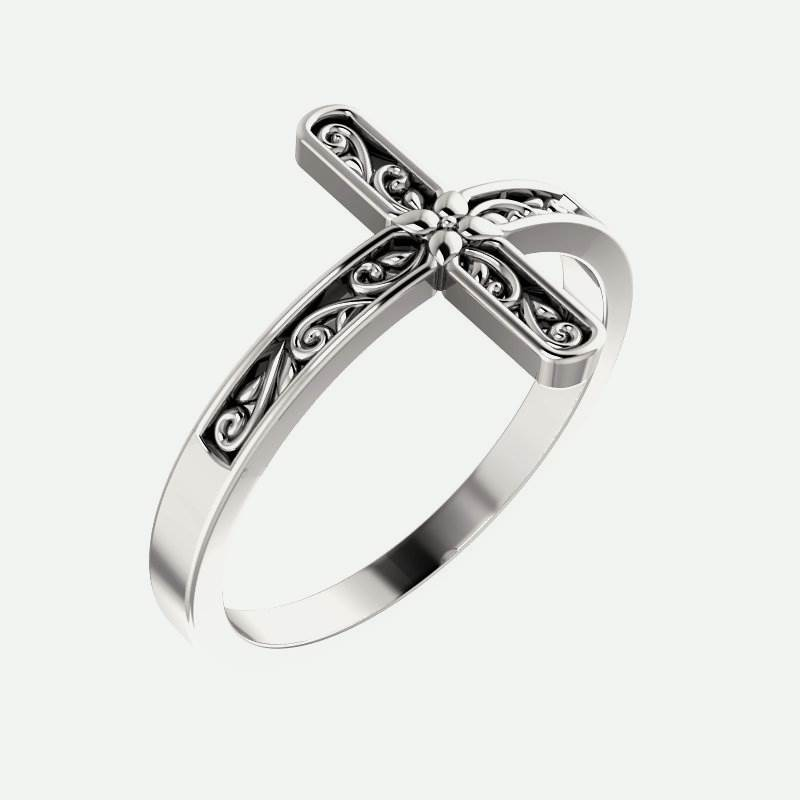 Oblique view of white gold Sideways Floral Cross Christian Ring For Women