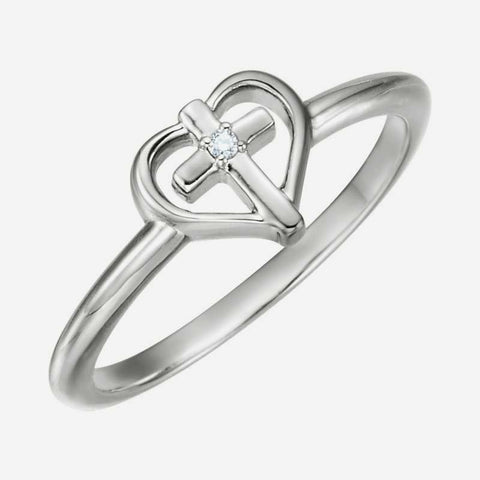 Oblique view of white gold Solitaire Cross with Heart Christian Ring For Women