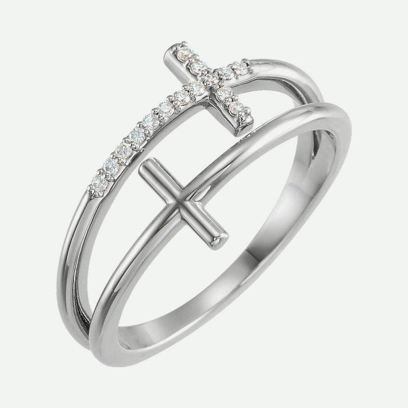 Oblique view of white gold Twin Sideways Crosses Christian Ring For Women