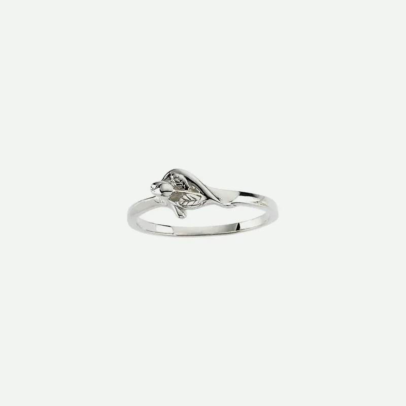 Front view of white gold UNBLOSSOMED ROSE Christian ring for women