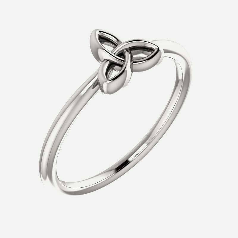 Oblique view of white gold Stackable Celtic-Inspired Christian ring