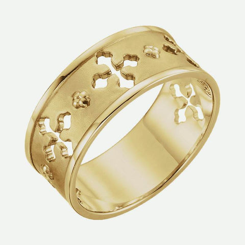 Oblique view of yellow gold Pierced Cross Christian Ring For Women