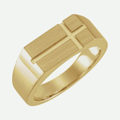 Oblique view of yellow gold Rectangle Cross Signet Christian Ring For Men