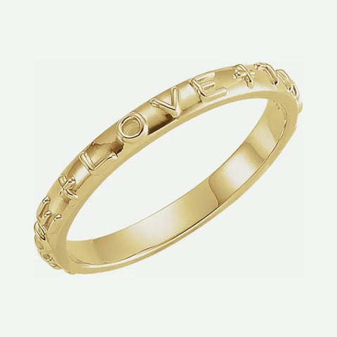 Oblique view of yellow gold TRUE LOVE chastity ring