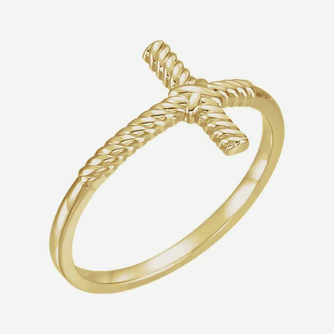 Oblique view of yellow gold Sideways Cross Rope Christian Ring For Women