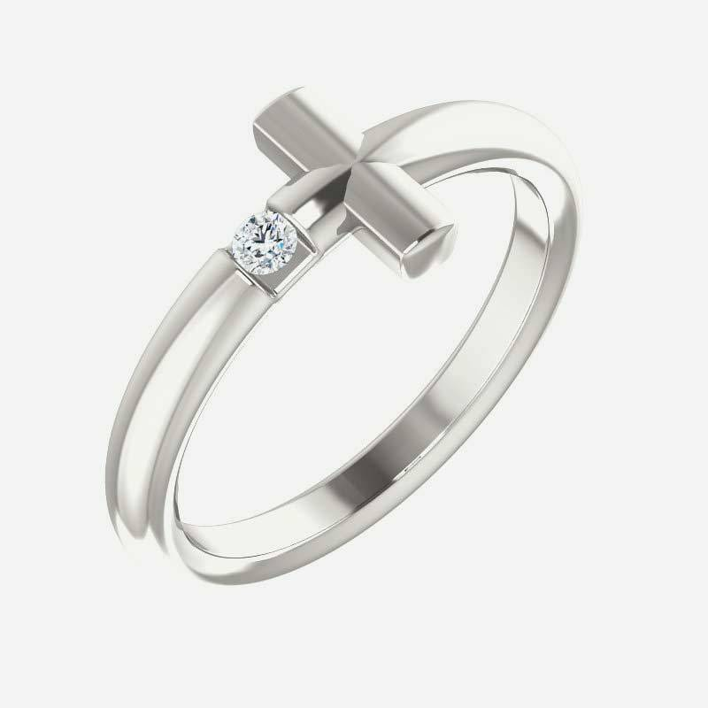 Oblique view of white gold Solitaire Sideways Cross Christian Ring For Women