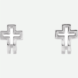 Front View Of Open Cross J-Hoop Sterling Silver Christian Earrings For Women From Glor-e
