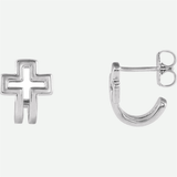 Mixed View Of Open Cross J-Hoop Sterling Silver Christian Earrings For Women From Glor-e