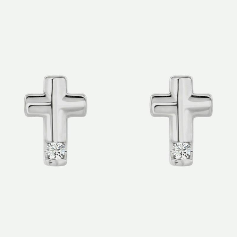 Pair view of sterling silver diamond cross Christian earrings for women