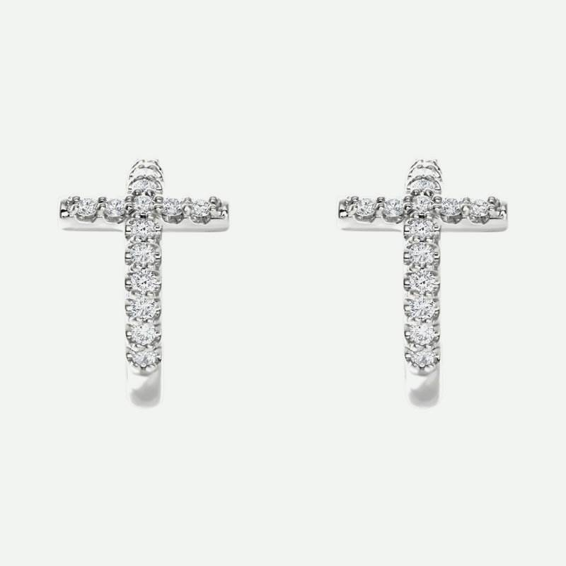 Pair view of sterling silver diamond cross j-hoop Christian earrings for women