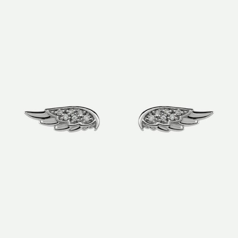 Pair view of sterling silver angel wings Christian earrings for women