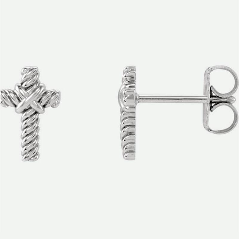 Front And Side Views Of Rope Cross White Gold Christian Earrings For Women From Glor-e