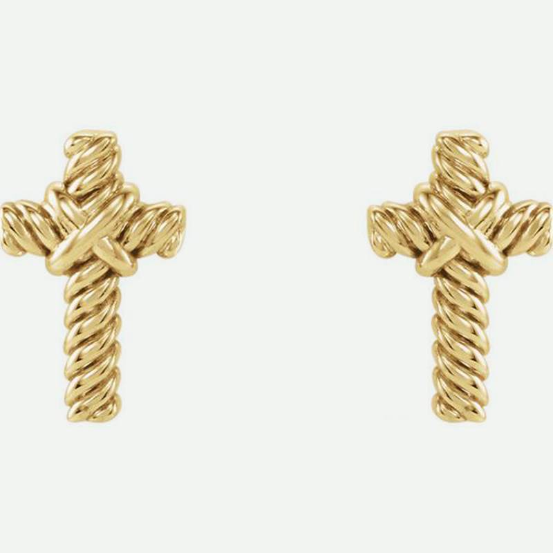 Front View Of Rope Cross Yellow Gold Christian Earrings For Women From Glor-e