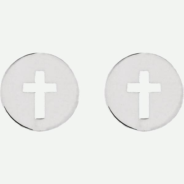Side View of Pierced Cross Sterling Silver Christian Earring | Glor-e