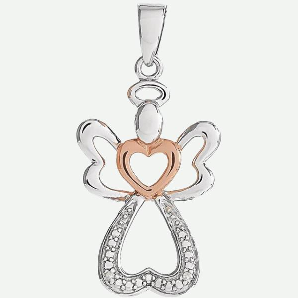Front view of Silver Angel With Rose Gold Heart Christian Pendant For Women | Glor-e