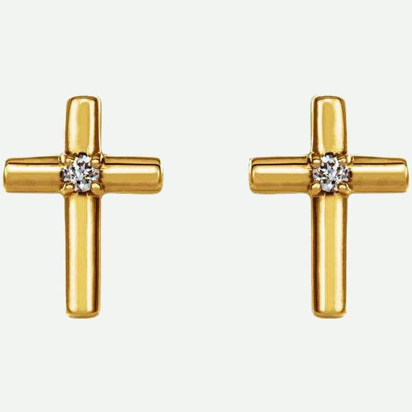 Front View of Solitaire Cross 14K Yellow Gold Christian Earring | Glor-e