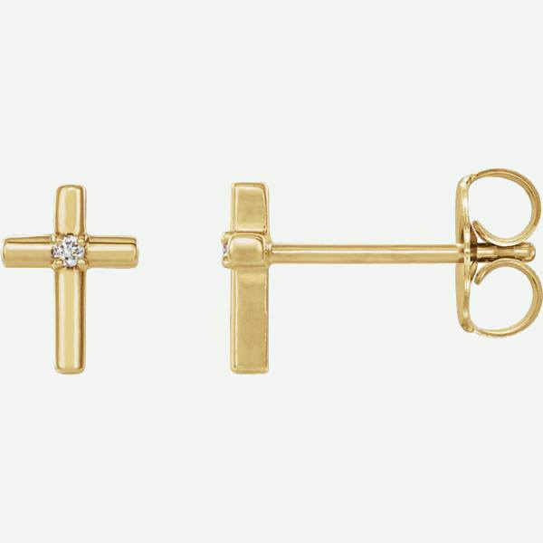 Side View of Solitaire Cross 14K Yellow Gold Christian Earring | Glor-e