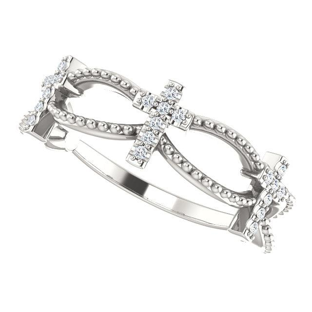 Leaning view of sterling silver Diamond Stackable Cross Christian Ring For Women
