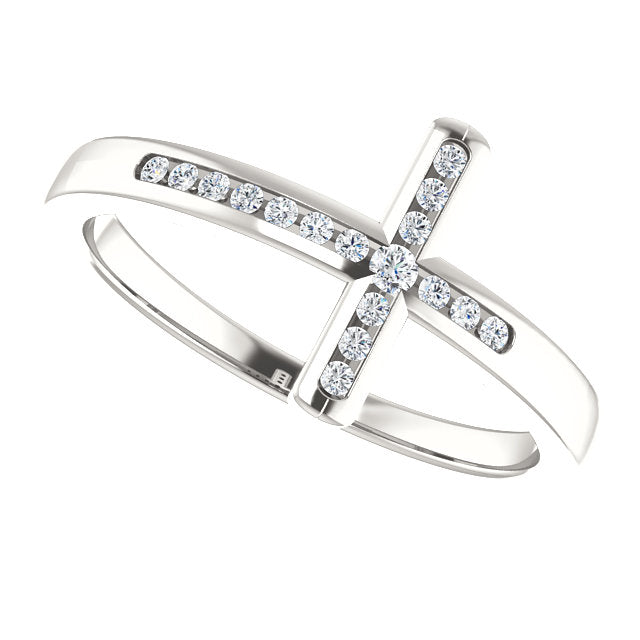 Sideways Diamond Cross Christian Ring For Women
