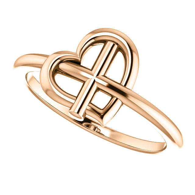 Crossed Heart Christian Ring For Women