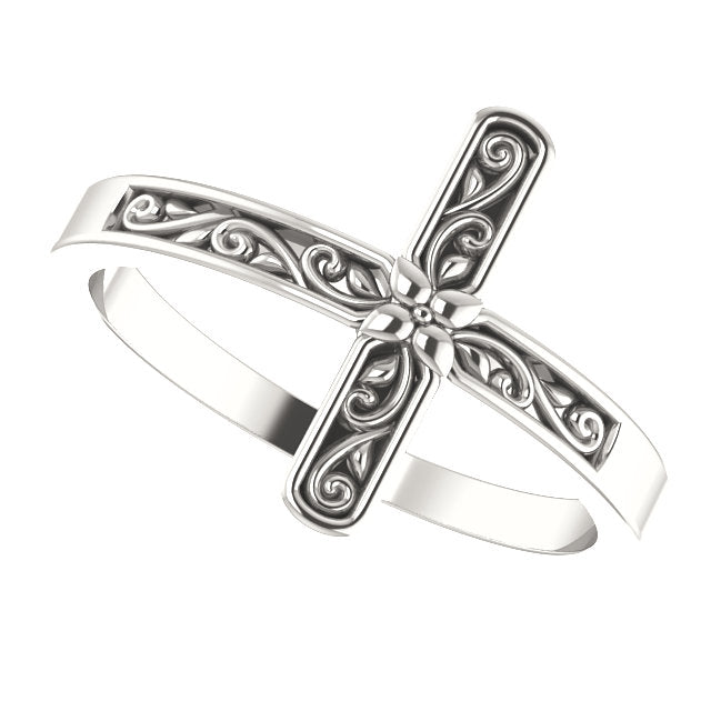 Sideways Floral Cross Christian Ring For Women